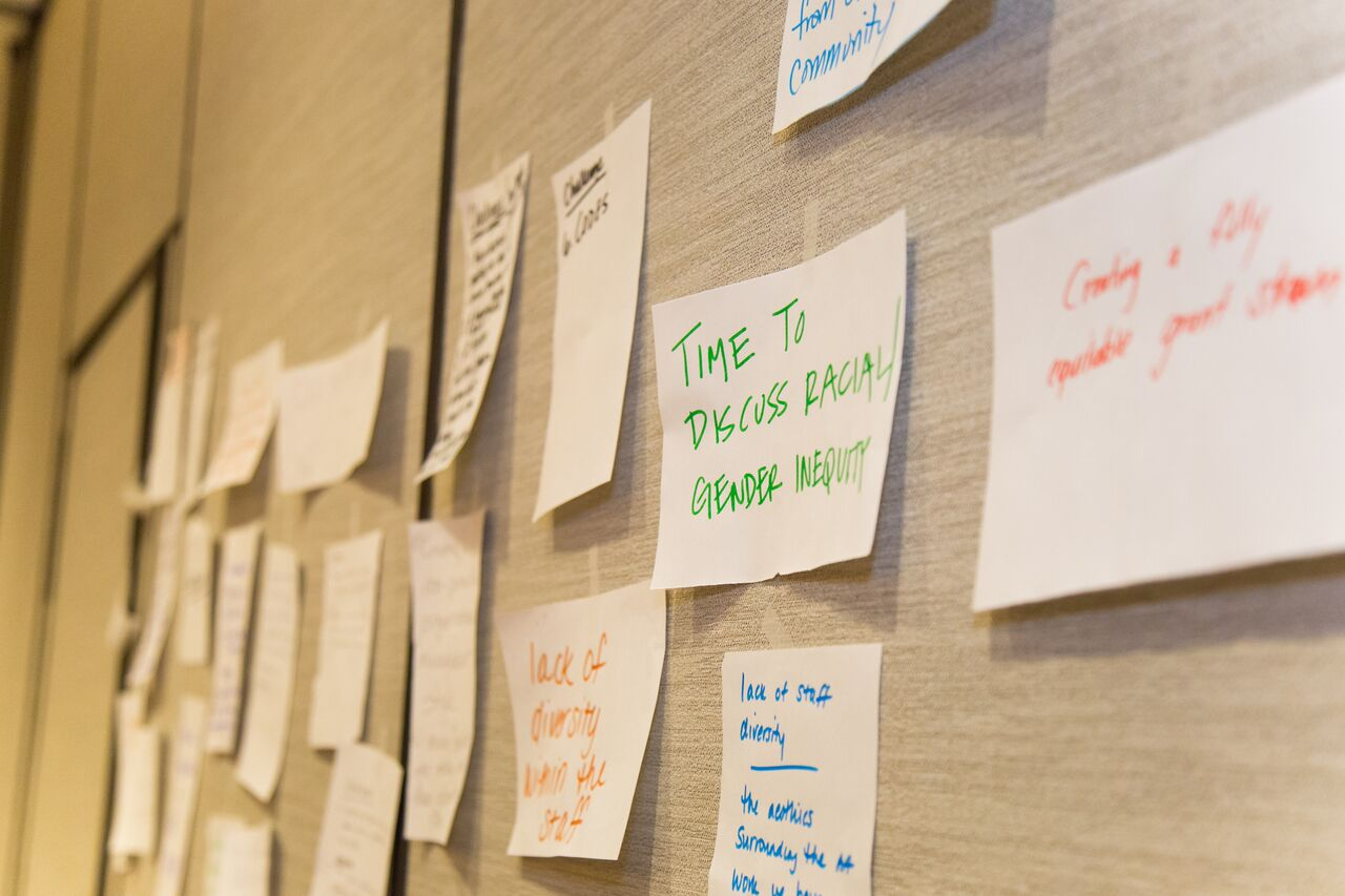 Post It on Board - Time to Discuss Racial Gender Inequity